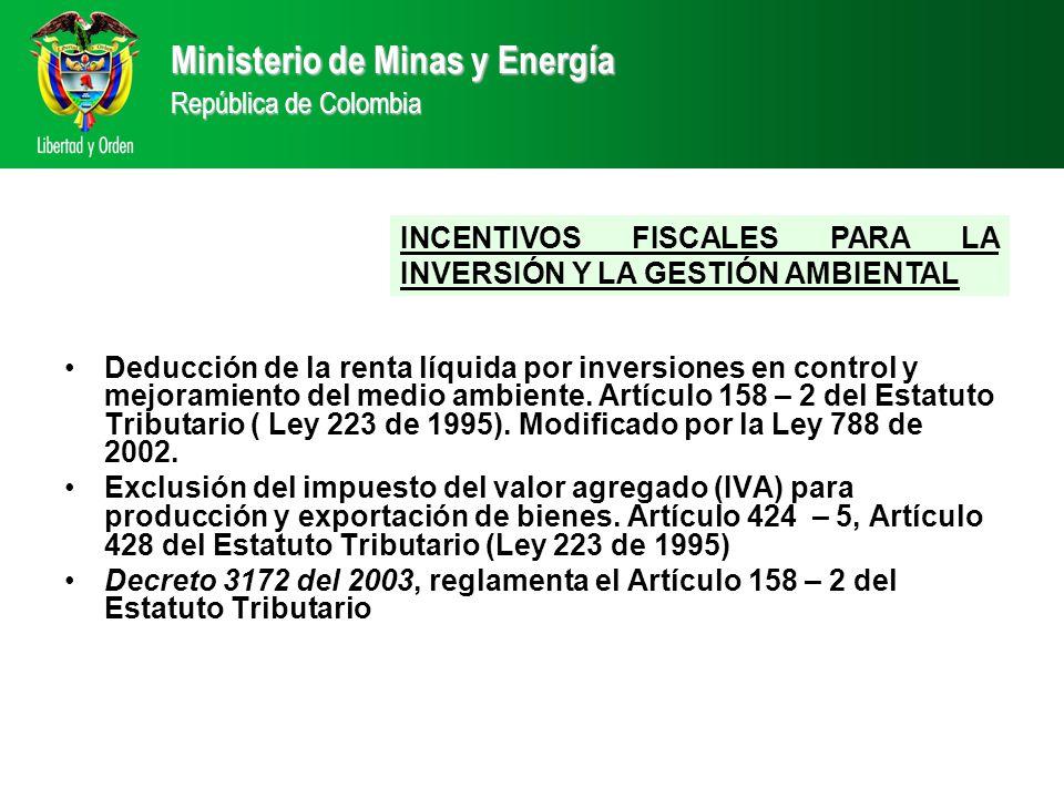 INCENTIVOS FISCALES PARA LA INVERSIÓN Y LA GESTIÓN AMBIENTAL Ministerio de Minas y Energía República de Colombia Deducción de la renta líquida por inversiones en control y mejoramiento del medio ambiente.