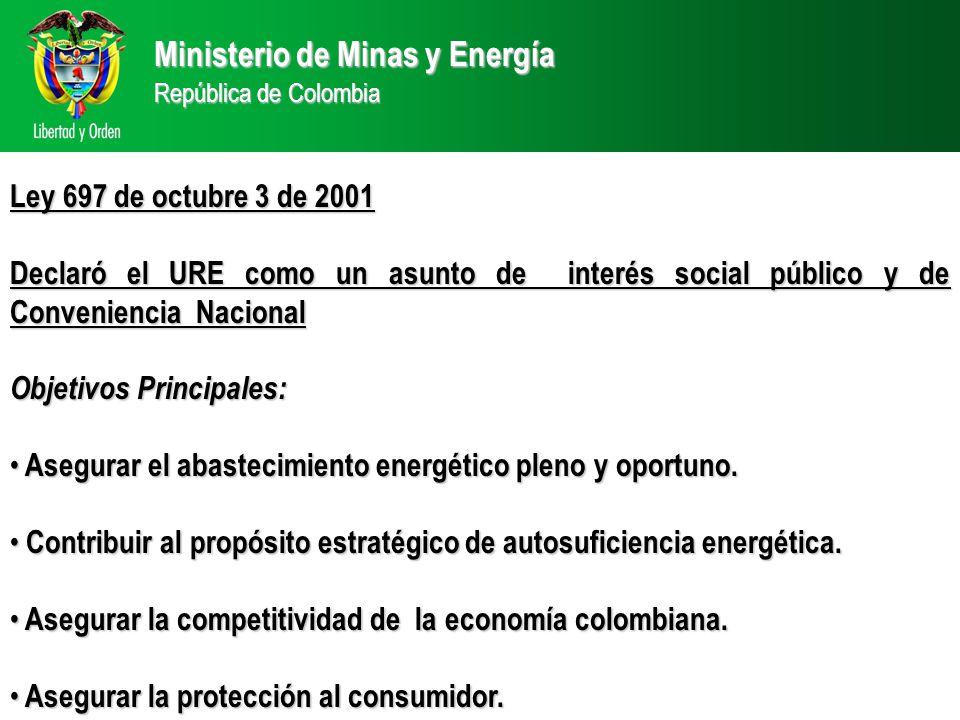 Ministerio de Minas y Energía República de Colombia Ley 697 de octubre 3 de 2001 Declaró el URE como un asunto de interés social público y de Conveniencia Nacional Objetivos Principales: Objetivos Principales: Asegurar el abastecimiento energético pleno y oportuno.