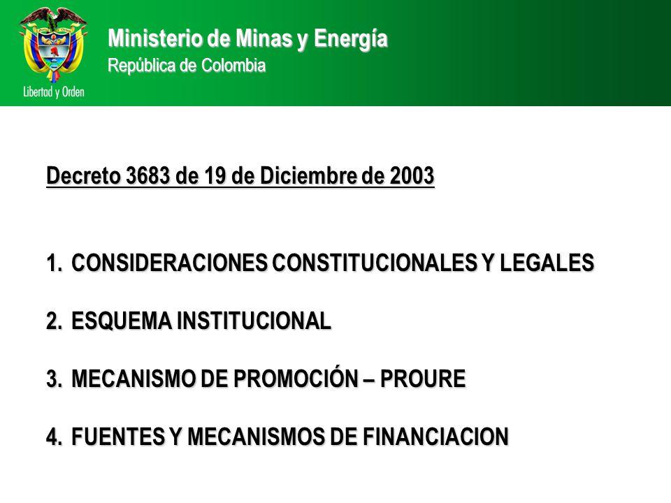 Ministerio de Minas y Energía República de Colombia Decreto 3683 de 19 de Diciembre de 2003 1.CONSIDERACIONES CONSTITUCIONALES Y LEGALES 2.ESQUEMA INSTITUCIONAL 3.MECANISMO DE PROMOCIÓN – PROURE 4.FUENTES Y MECANISMOS DE FINANCIACION