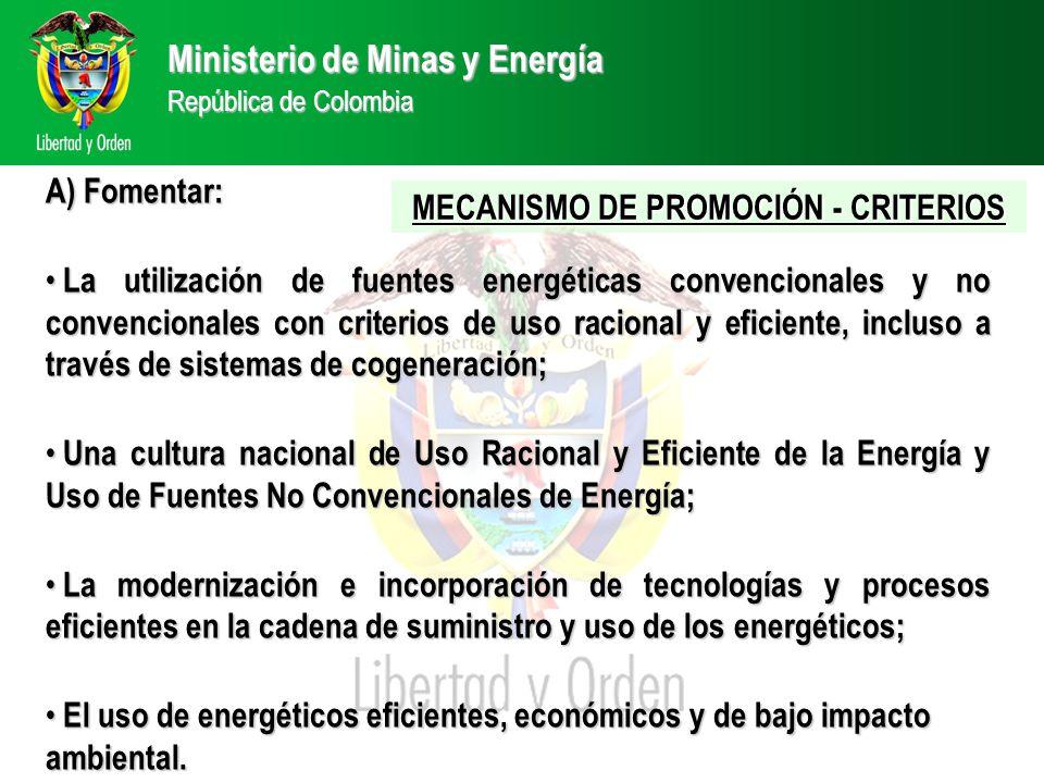 A) Fomentar: La utilización de fuentes energéticas convencionales y no convencionales con criterios de uso racional y eficiente, incluso a través de sistemas de cogeneración; La utilización de fuentes energéticas convencionales y no convencionales con criterios de uso racional y eficiente, incluso a través de sistemas de cogeneración; Una cultura nacional de Uso Racional y Eficiente de la Energía y Uso de Fuentes No Convencionales de Energía; Una cultura nacional de Uso Racional y Eficiente de la Energía y Uso de Fuentes No Convencionales de Energía; La modernización e incorporación de tecnologías y procesos eficientes en la cadena de suministro y uso de los energéticos; La modernización e incorporación de tecnologías y procesos eficientes en la cadena de suministro y uso de los energéticos; El uso de energéticos eficientes, económicos y de bajo impacto ambiental.