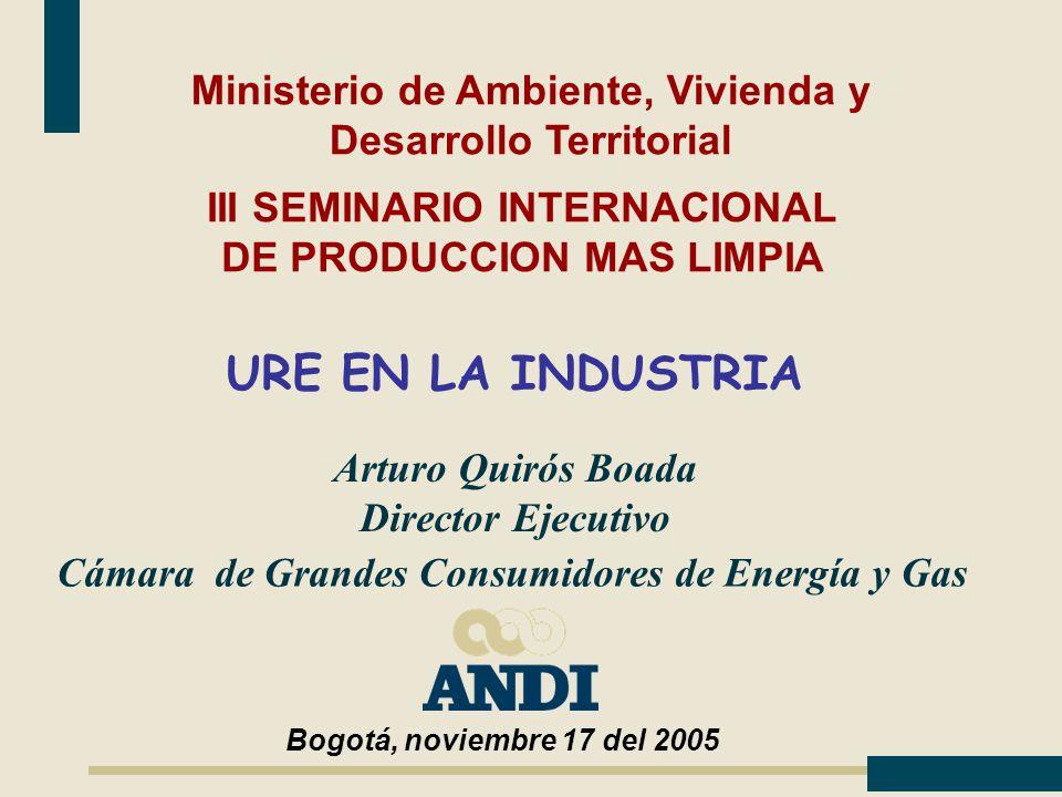 Arturo Quirós Boada Director Ejecutivo III SEMINARIO INTERNACIONAL DE PRODUCCION MAS LIMPIA Cámara de Grandes Consumidores de Energía y Gas Ministerio de Ambiente, Vivienda y Desarrollo Territorial Bogotá, noviembre 17 del 2005 URE EN LA INDUSTRIA