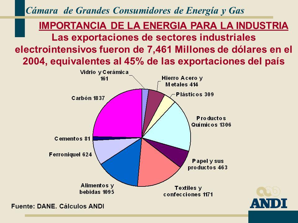Cámara de Grandes Consumidores de Energía y Gas Las exportaciones de sectores industriales electrointensivos fueron de 7,461 Millones de dólares en el 2004, equivalentes al 45% de las exportaciones del país Fuente: DANE.