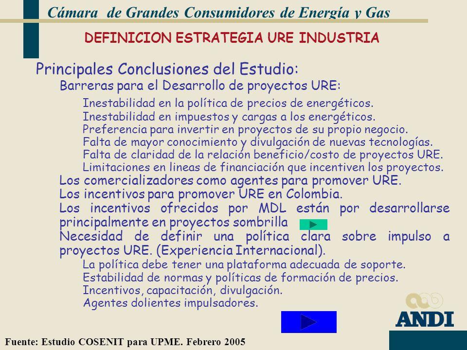 DEFINICION ESTRATEGIA URE INDUSTRIA Cámara de Grandes Consumidores de Energía y Gas Fuente: Estudio COSENIT para UPME.
