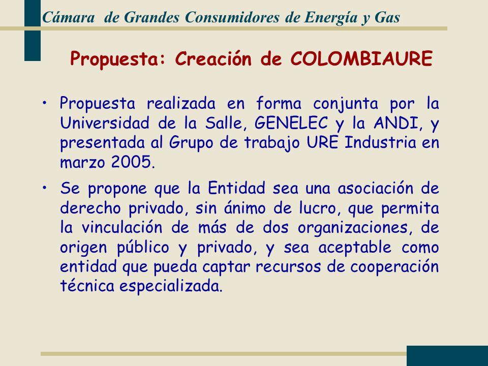Propuesta: Creación de COLOMBIAURE Propuesta realizada en forma conjunta por la Universidad de la Salle, GENELEC y la ANDI, y presentada al Grupo de trabajo URE Industria en marzo 2005.