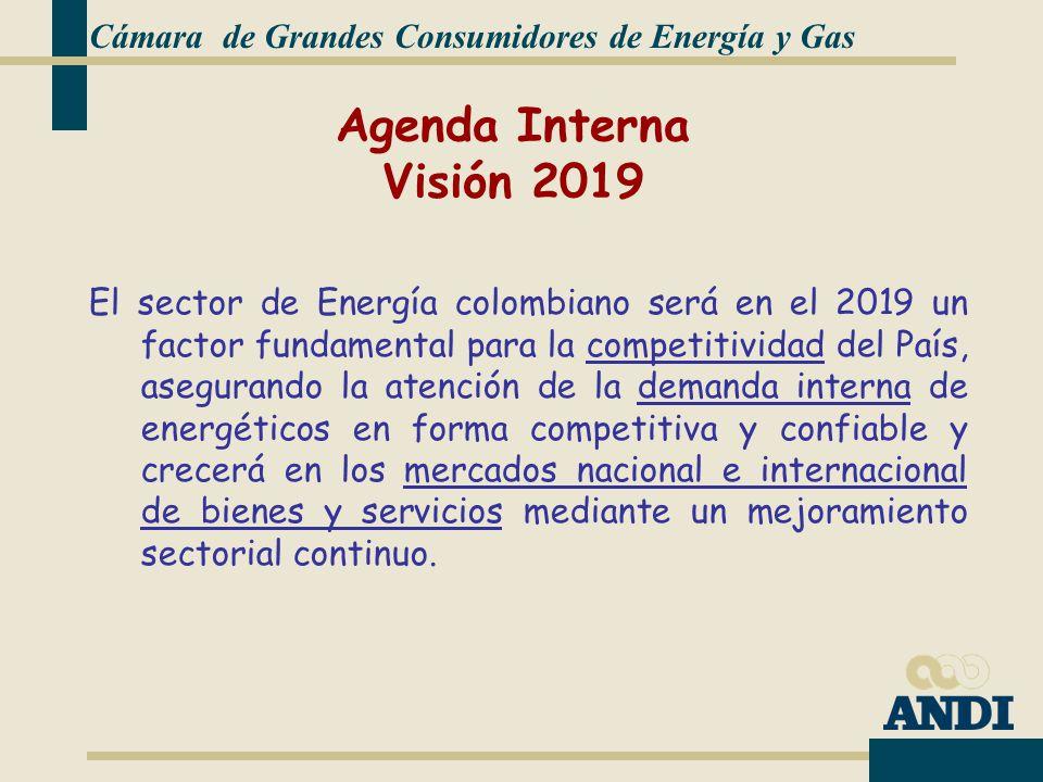 Cámara de Grandes Consumidores de Energía y Gas El sector de Energía colombiano será en el 2019 un factor fundamental para la competitividad del País, asegurando la atención de la demanda interna de energéticos en forma competitiva y confiable y crecerá en los mercados nacional e internacional de bienes y servicios mediante un mejoramiento sectorial continuo.