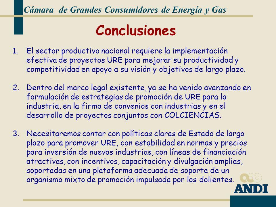 Cámara de Grandes Consumidores de Energía y Gas 1.El sector productivo nacional requiere la implementación efectiva de proyectos URE para mejorar su productividad y competitividad en apoyo a su visión y objetivos de largo plazo.