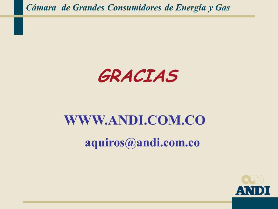 aquiros@andi.com.co WWW.ANDI.COM.CO GRACIAS Cámara de Grandes Consumidores de Energía y Gas