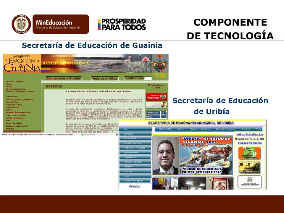 Secretaría de Educación de Guainía Secretaría de Educación de Uribía COMPONENTE DE TECNOLOGÍA