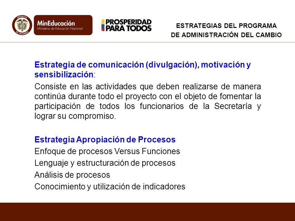 Estrategia de comunicación (divulgación), motivación y sensibilización: Consiste en las actividades que deben realizarse de manera continúa durante to