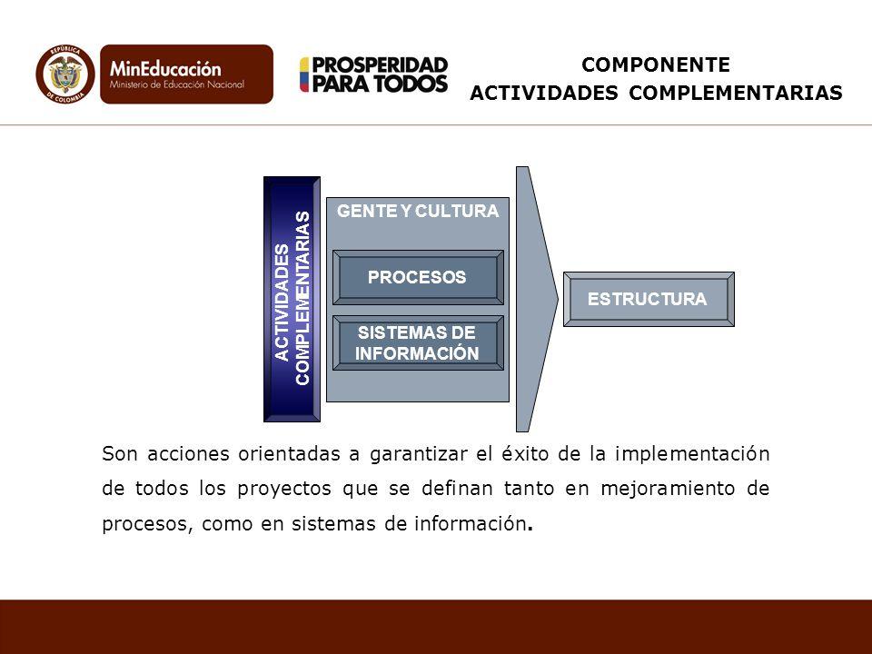 GENTE Y CULTURA SISTEMAS DE INFORMACIÓN ACTIVIDADES COMPLEMENTARIAS ESTRUCTURA PROCESOS Son acciones orientadas a garantizar el éxito de la implementa