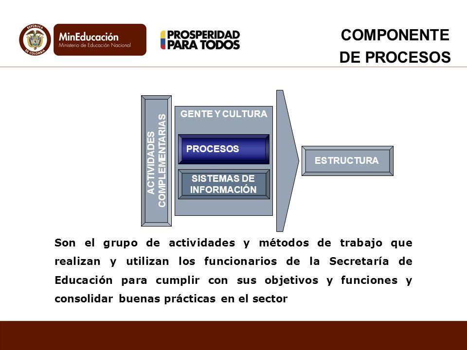 GENTE Y CULTURA SISTEMAS DE INFORMACIÓN ACTIVIDADES COMPLEMENTARIAS ESTRUCTURA PROCESOS Son el grupo de actividades y métodos de trabajo que realizan