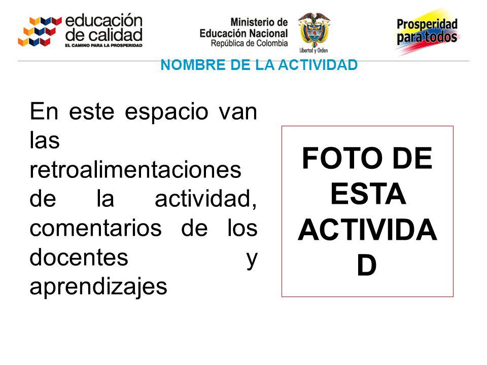 En este espacio van las retroalimentaciones de la actividad, comentarios de los docentes y aprendizajes NOMBRE DE LA ACTIVIDAD FOTO DE ESTA ACTIVIDA D