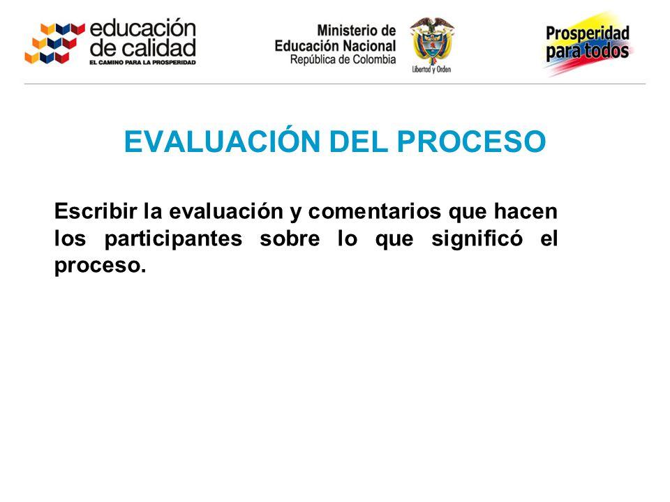 EVALUACIÓN DEL PROCESO Escribir la evaluación y comentarios que hacen los participantes sobre lo que significó el proceso.