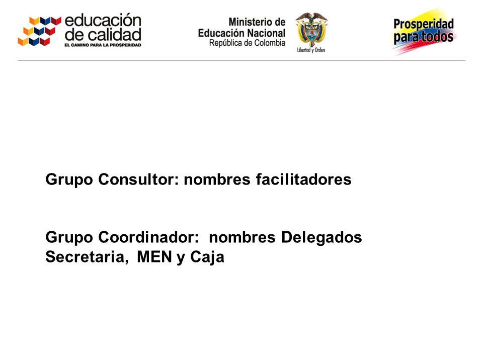Grupo Consultor: nombres facilitadores Grupo Coordinador: nombres Delegados Secretaria, MEN y Caja