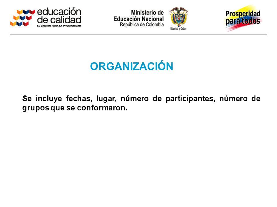 ORGANIZACIÓN Se incluye fechas, lugar, número de participantes, número de grupos que se conformaron.