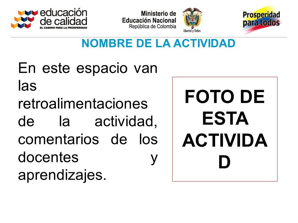 En este espacio van las retroalimentaciones de la actividad, comentarios de los docentes y aprendizajes. NOMBRE DE LA ACTIVIDAD FOTO DE ESTA ACTIVIDA
