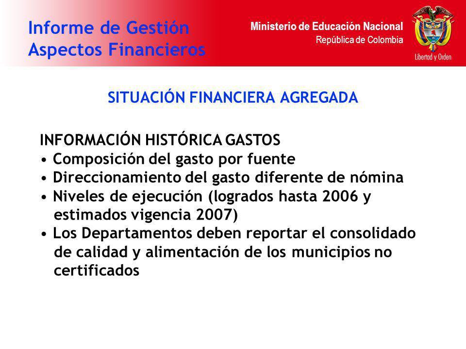 Ministerio de Educación Nacional República de Colombia Informe de Gestión Aspectos Financieros SITUACIÓN FINANCIERA AGREGADA INFORMACIÓN HISTÓRICA GAS