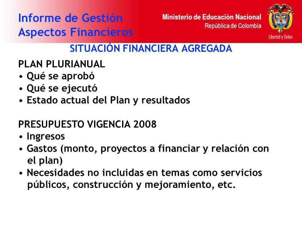Ministerio de Educación Nacional República de Colombia Informe de Gestión Aspectos Financieros SITUACIÓN FINANCIERA AGREGADA PLAN PLURIANUAL Qué se ap