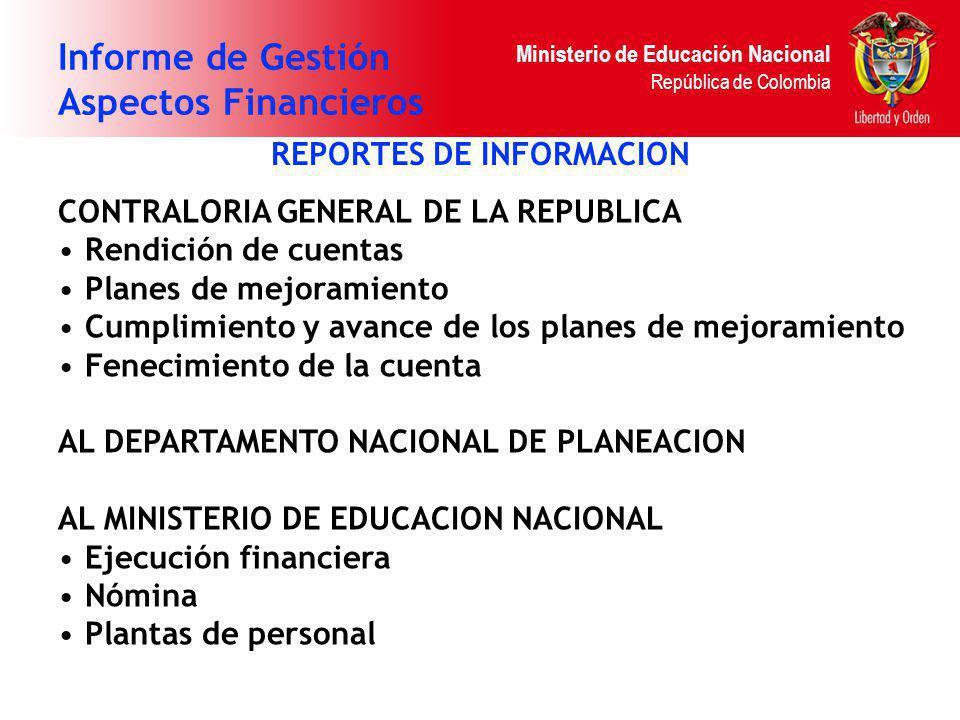 Ministerio de Educación Nacional República de Colombia Informe de Gestión Aspectos Financieros REPORTES DE INFORMACION CONTRALORIA GENERAL DE LA REPUB
