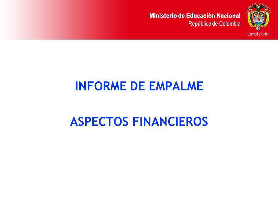 Ministerio de Educación Nacional República de Colombia INFORME DE EMPALME ASPECTOS FINANCIEROS