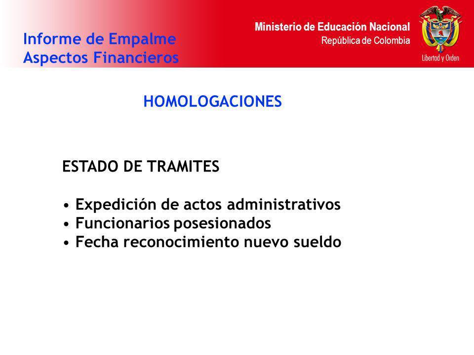 Ministerio de Educación Nacional República de Colombia HOMOLOGACIONES Informe de Empalme Aspectos Financieros ESTADO DE TRAMITES Expedición de actos a