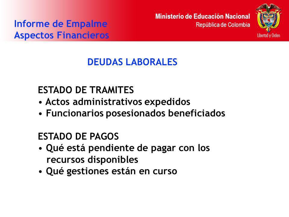 Ministerio de Educación Nacional República de Colombia DEUDAS LABORALES Informe de Empalme Aspectos Financieros ESTADO DE TRAMITES Actos administrativ