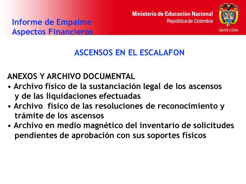 Ministerio de Educación Nacional República de Colombia ASCENSOS EN EL ESCALAFON Informe de Empalme Aspectos Financieros ANEXOS Y ARCHIVO DOCUMENTAL Ar
