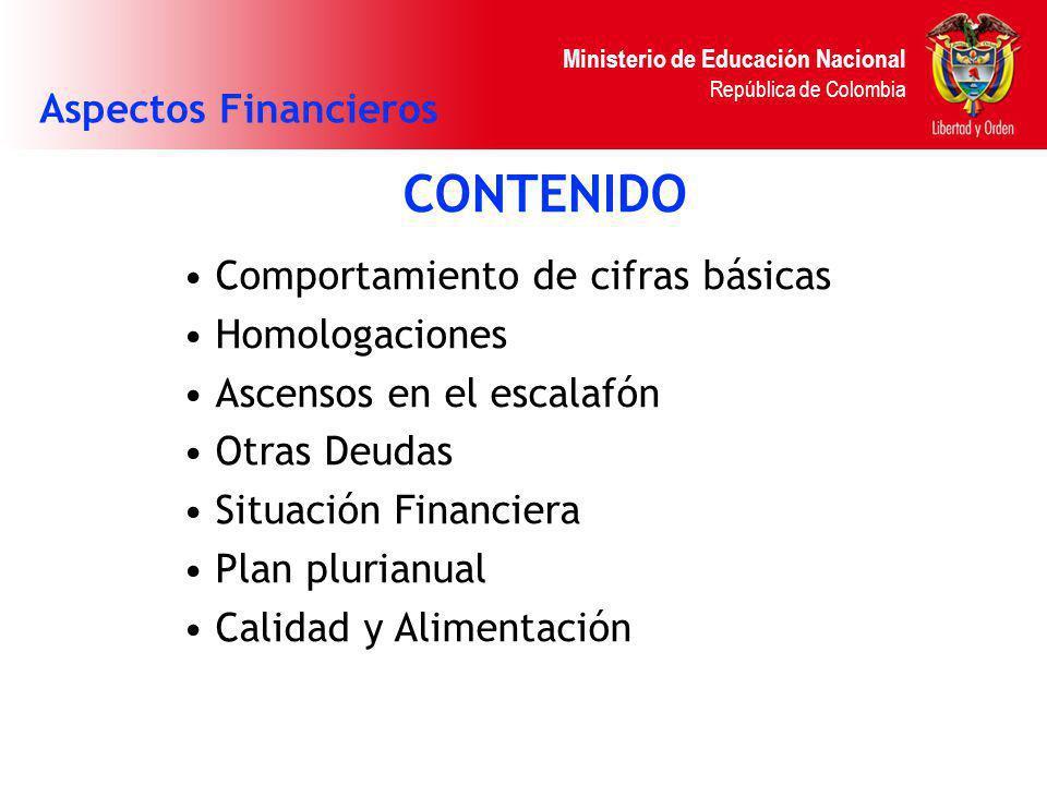 Ministerio de Educación Nacional República de Colombia CONTENIDO Comportamiento de cifras básicas Homologaciones Ascensos en el escalafón Otras Deudas