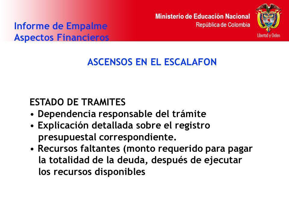 Ministerio de Educación Nacional República de Colombia ASCENSOS EN EL ESCALAFON Informe de Empalme Aspectos Financieros ESTADO DE TRAMITES Dependencia
