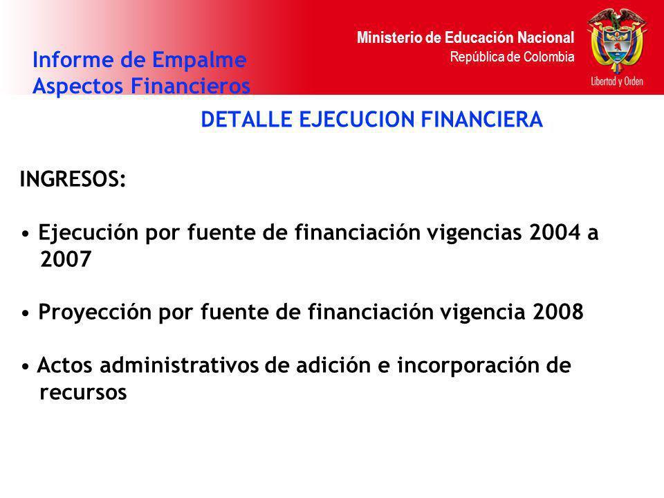 Ministerio de Educación Nacional República de Colombia DETALLE EJECUCION FINANCIERA Informe de Empalme Aspectos Financieros INGRESOS: Ejecución por fu