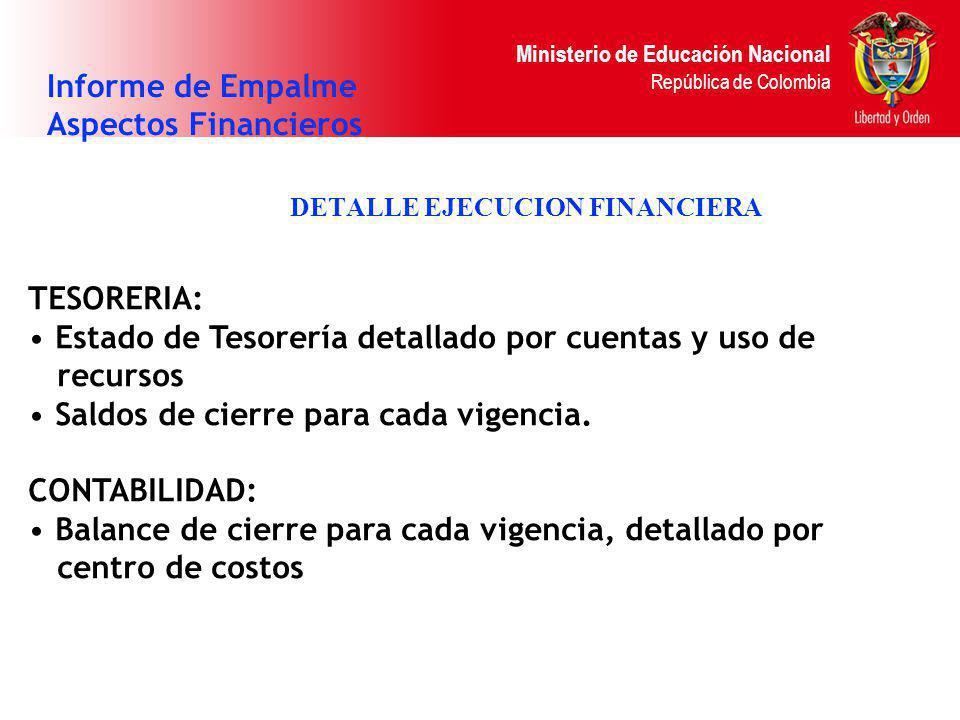 Ministerio de Educación Nacional República de Colombia DETALLE EJECUCION FINANCIERA Informe de Empalme Aspectos Financieros TESORERIA: Estado de Tesor