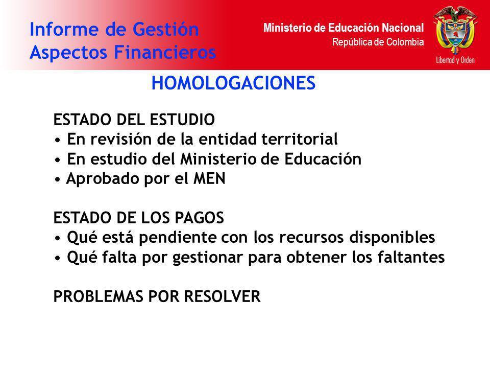 Ministerio de Educación Nacional República de Colombia Informe de Gestión Aspectos Financieros HOMOLOGACIONES ESTADO DEL ESTUDIO En revisión de la ent
