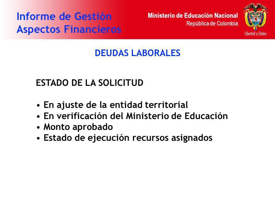 Ministerio de Educación Nacional República de Colombia Informe de Gestión Aspectos Financieros DEUDAS LABORALES ESTADO DE LA SOLICITUD En ajuste de la