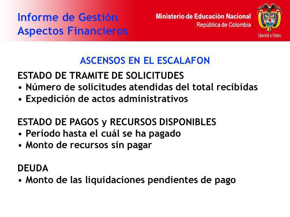 Ministerio de Educación Nacional República de Colombia Informe de Gestión Aspectos Financieros ASCENSOS EN EL ESCALAFON ESTADO DE TRAMITE DE SOLICITUD