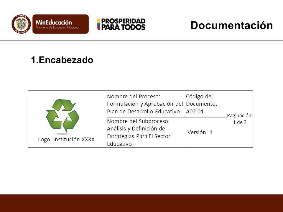 Logo: Institución XXXX Nombre del Proceso: Formulación y Aprobación del Plan de Desarrollo Educativo Código del Documento: A02.01 Paginación: 1 de 3 N