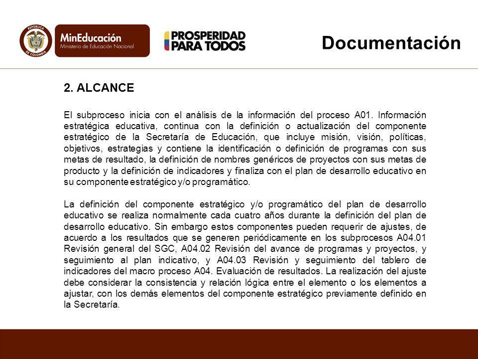 2. ALCANCE El subproceso inicia con el análisis de la información del proceso A01. Información estratégica educativa, continua con la definición o act