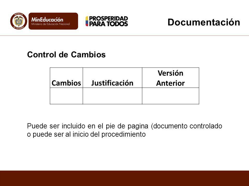 Control de Cambios CambiosJustificación Versión Anterior Puede ser incluido en el pie de pagina (documento controlado o puede ser al inicio del proced