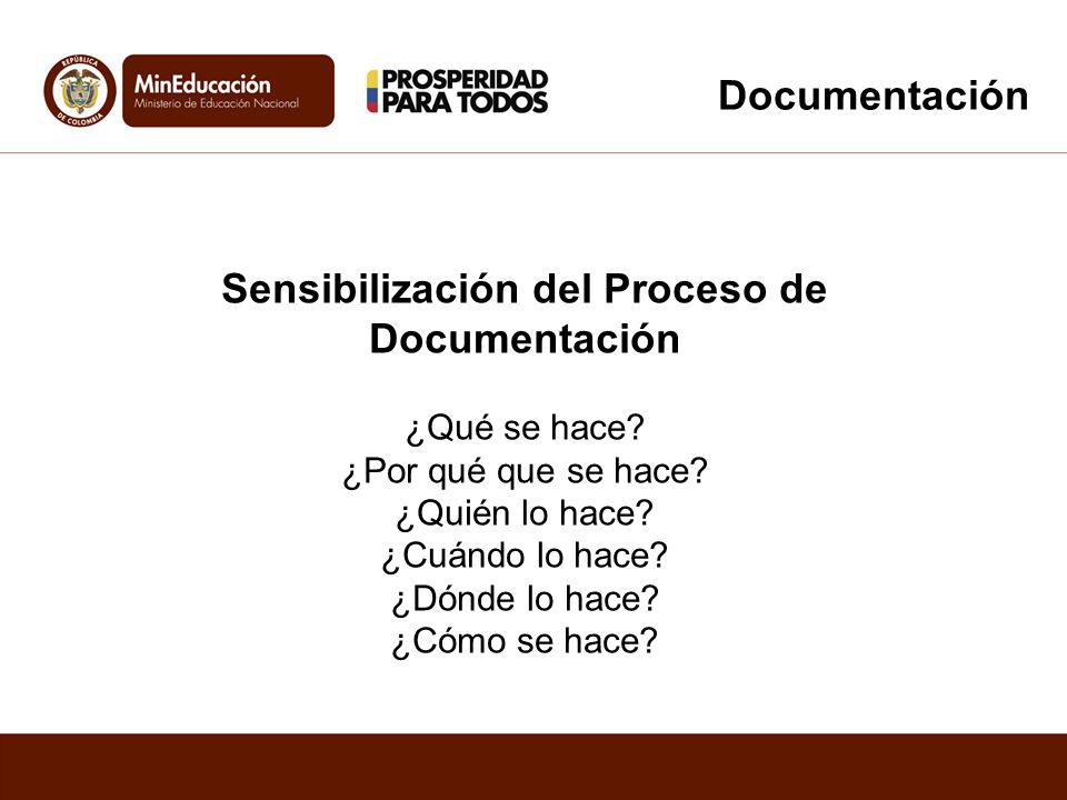 Sensibilización del Proceso de Documentación ¿Qué se hace? ¿Por qué que se hace? ¿Quién lo hace? ¿Cuándo lo hace? ¿Dónde lo hace? ¿Cómo se hace? Docum