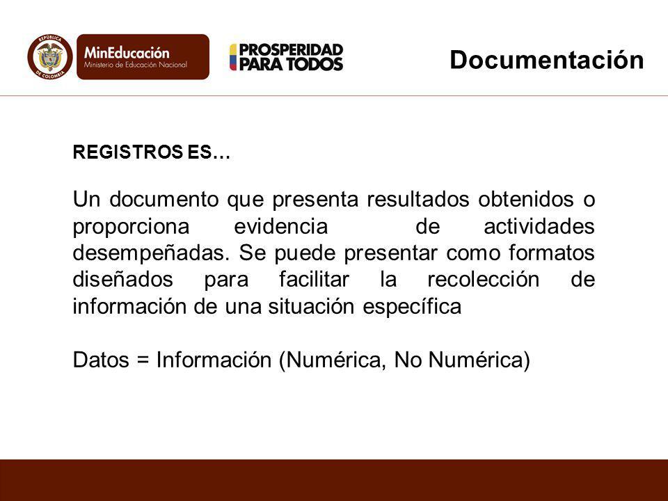 REGISTROS ES… Un documento que presenta resultados obtenidos o proporciona evidencia de actividades desempeñadas. Se puede presentar como formatos dis