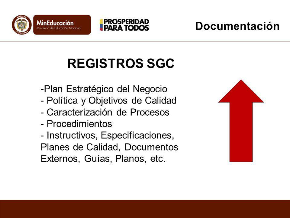 REGISTROS SGC -Plan Estratégico del Negocio - Política y Objetivos de Calidad - Caracterización de Procesos - Procedimientos - Instructivos, Especific