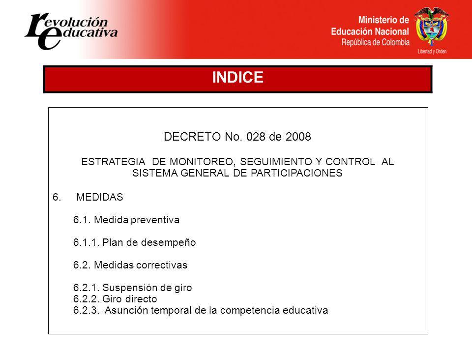 DECRETO No. 028 de 2008 ESTRATEGIA DE MONITOREO, SEGUIMIENTO Y CONTROL AL SISTEMA GENERAL DE PARTICIPACIONES 1.FUNDAMENTO NORMATIVO 2.OBJETO 3.CAMPO D
