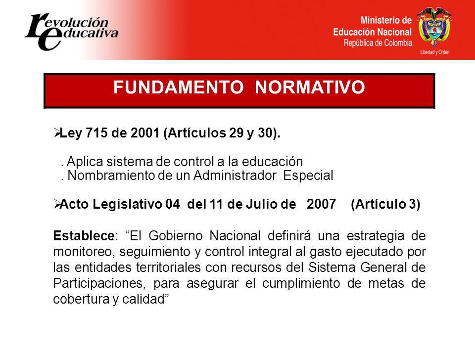 Ley 715 de 2001 (Artículos 29 y 30)..Aplica sistema de control a la educación.