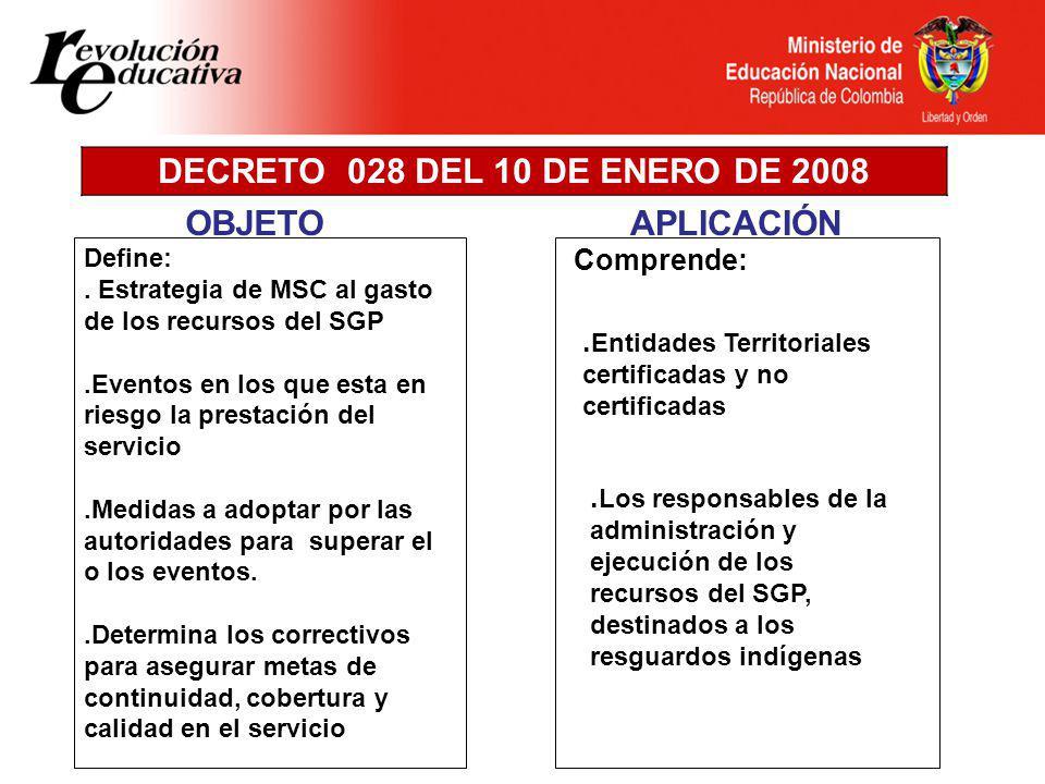 DECRETO 028 DEL 10 DE ENERO DE 2008 Define:.