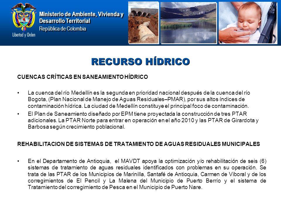 Ministerio de Ambiente, Vivienda y Desarrollo Territorial República de Colombia Ministerio de Ambiente, Vivienda y Desarrollo Territorial República de Colombia RECURSO HÍDRICO CUENCAS CRÍTICAS EN SANEAMIENTO HÍDRICO La cuenca del río Medellín es la segunda en prioridad nacional después de la cuenca del río Bogota, (Plan Nacional de Manejo de Aguas Residuales–PMAR), por sus altos índices de contaminación hídrica.