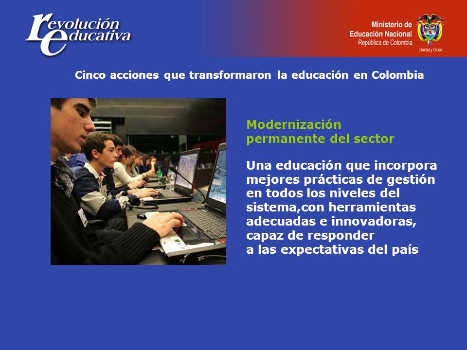 Cinco acciones que transformaron la educación en Colombia Modernización permanente del sector Una educación que incorpora mejores prácticas de gestión en todos los niveles del sistema,con herramientas adecuadas e innovadoras, capaz de responder a las expectativas del país