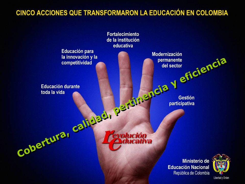 Cinco acciones que transformaron la educación en Colombia Educación incluyente a lo largo de toda la vida Una educación que mejora las oportunidades educativas de los más pobres, empieza desde el nacimiento y continúa durante toda la vida.