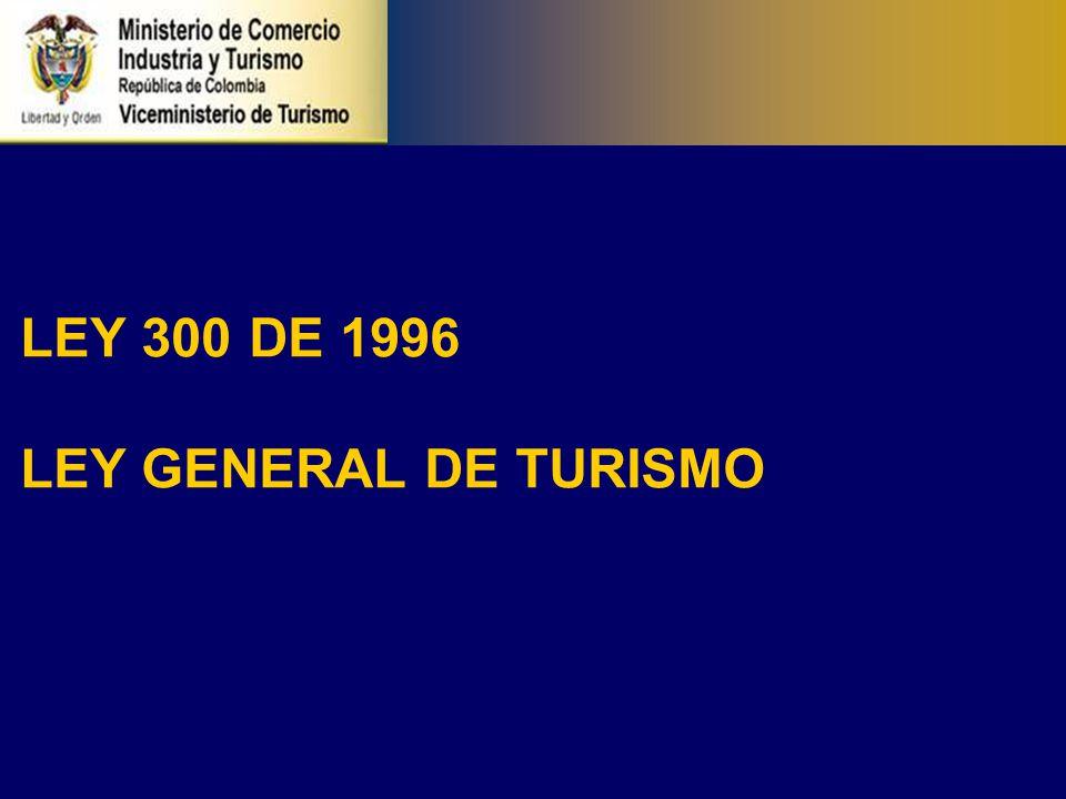 TEMAS QUE TRATA LA LEY 300/96 El turismo es una industria esencial para el desarrollo del país y en especial de las diferentes entidades territoriales, regiones, provincias y que cumple una función social.
