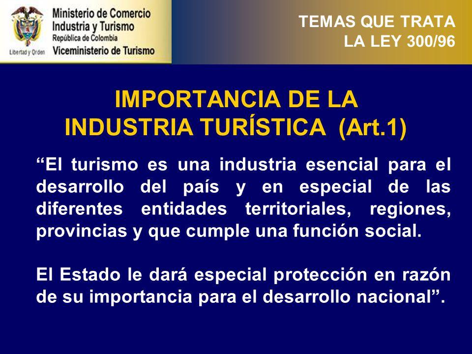 CONTROL Y LAS SANCIONES (Art.69-72) (i) TEMAS QUE TRATA LA LEY 300/96 El Ministerio : Fomentará el mejoramiento de la calidad de los servicios turísticos prestados a la comunidad.