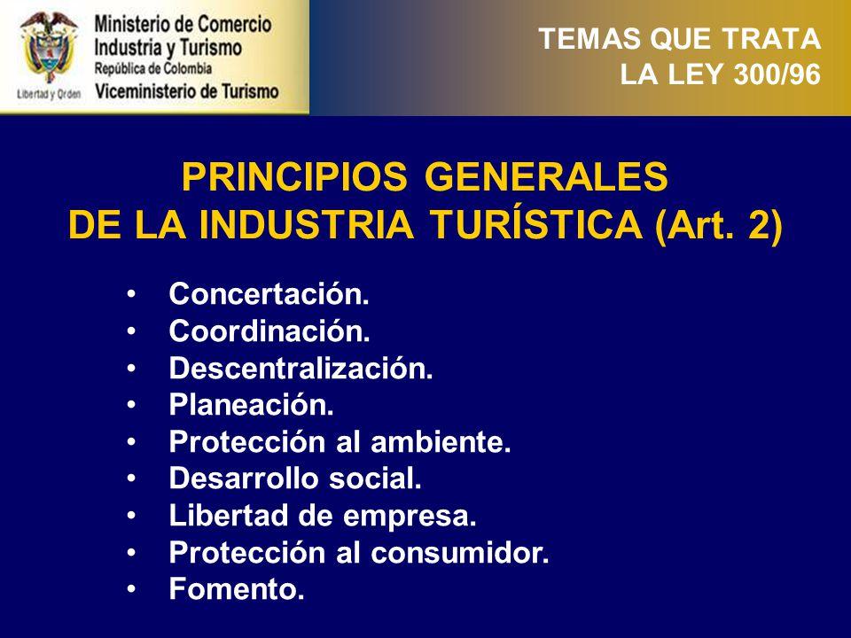 TEMAS QUE TRATA LA LEY 300/96 DESCENTRALIZACIÓN DE FUNCIONES (Art.12-15) (i) Las entidades territoriales, ejercerán sus funciones relacionadas con el turismo de manera coordinada y armónica con el Gobierno Central.
