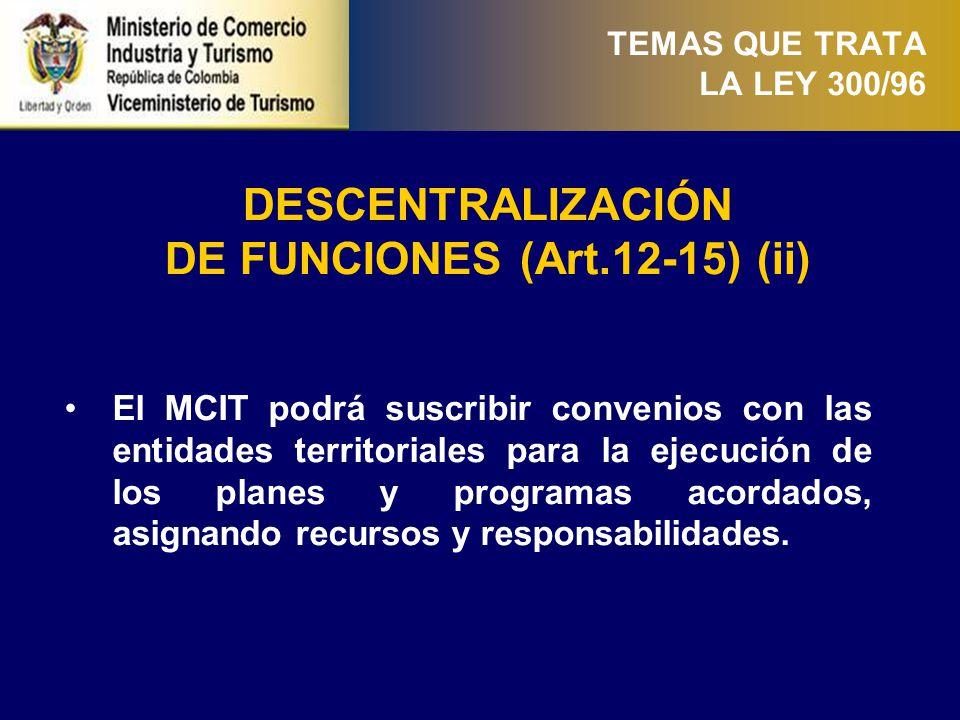TEMAS QUE TRATA LA LEY 300/96 PLANEACIÓN DEL SECTOR TURÍSTICO (Art.16 y 17) Las entidades regionales elaborarán los planes sectoriales de desarrollo turístico en su respectiva jurisdicción.